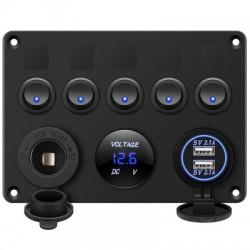 5 Gang Switch Panel 12V/24V withDigital Voltmeter Blue LED Equipped with Cigarette Lighter Socket a